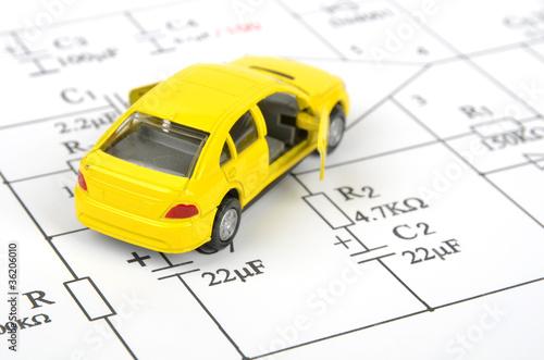 Circuit diagram and toy car - 36206010