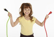 Little Girl Holding Power Cords
