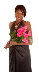 Happy African American Woman  Posing with Roses