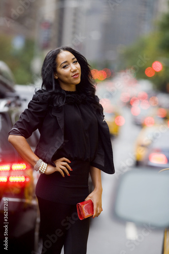Fashion Model in Traffic