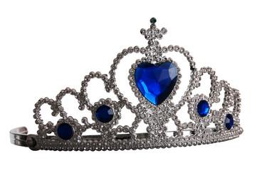 False tiara with diamonds and blue gem