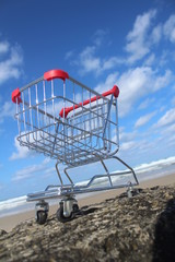 Retail cart near the sea water with cloudy sky