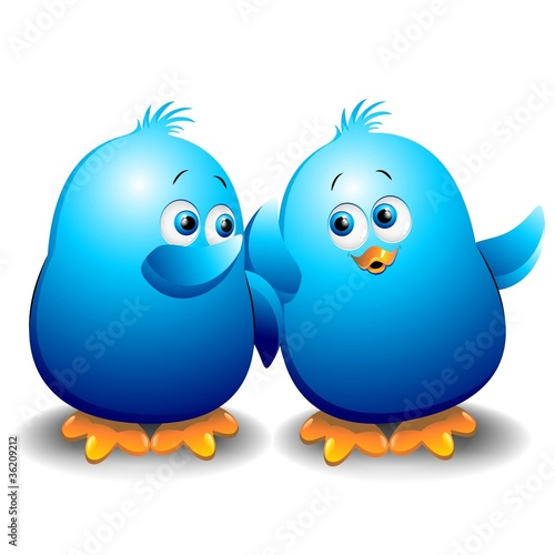Pulcino Passerotto Blu Chat Blog Blue Birds Talking-Vector
