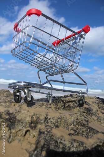 Retail cart near the sea with cloudy sky