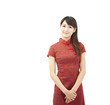 Chinese young woman and traditional clothing  cheongsam