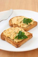Toasts with hummus