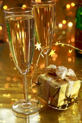 Champagne and gift box