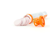 Multivitamin orange tube on white background