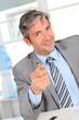 Businessman giving product advantages to client