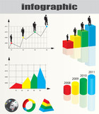 Colorful infographic and businessman silhouette collection poster