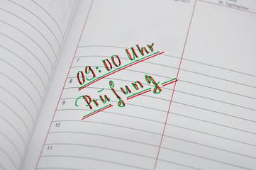Prüfungstermin im Kalender notiert
