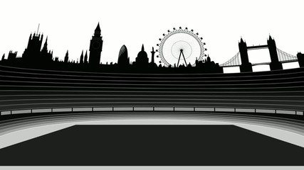 stadium with London skyline - movie