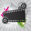 Movie background with film reel and film strip