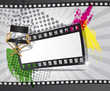 Movie background with filmstrip and director's chair