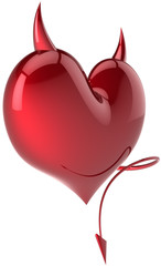 Heart shape of Devil Love passion horned symbol total red