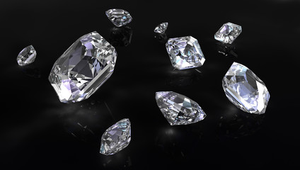 Few asscher cut diamonds