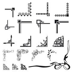 set di fiocchi e decorazioni ad angolo