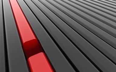Broken red line between continuous black lines