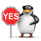 3d Penguin holding Yes Sign
