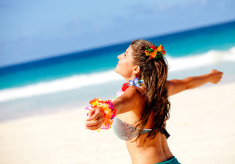 Hawaiian woman at the beach