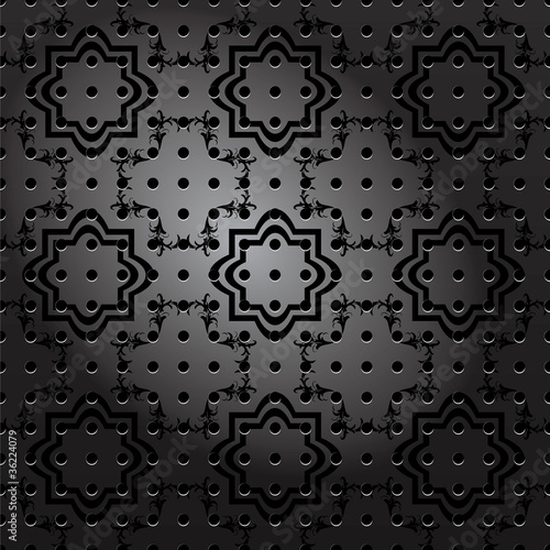 Seamless ornamental metal plate vector