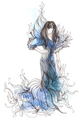 fashion dress ornate with flowers (series C)