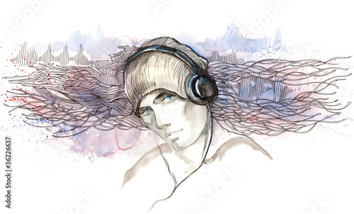 man listen to music in headphones (series C)
