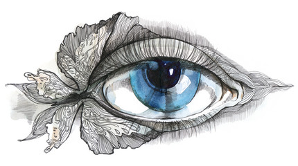 abstract human eye with butterfly