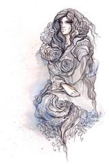 woman dressed in roses flowers
