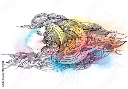 beautiful woman with ornate hair © Amid