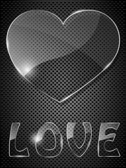 Glass heart on black background