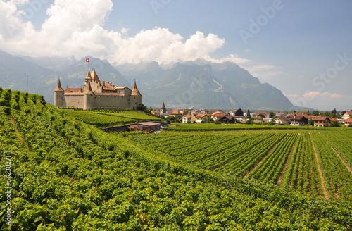 Chateau d'Aigle among vineyards. Switzerland