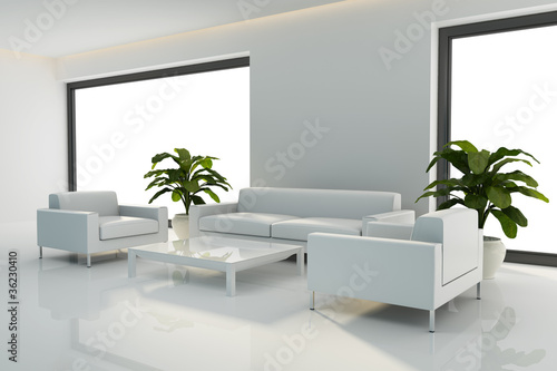 Minimal white interior with white sofa set rendering