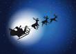 Fliegender Santa Claus mit Rentieren als Schattenriss