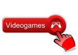 Videogames button with red hand poster