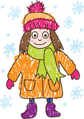FKids Drawing. Girl in the winter