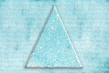 Christmas tree card in many languages