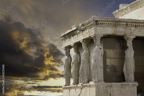 Caryatids in Erechtheum, Acropolis,Athens,Greece