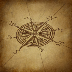 Compass rose in perspective with grunge texture