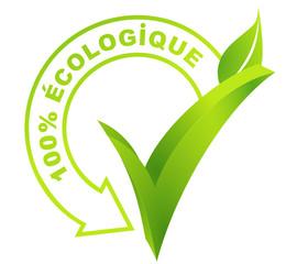 100 pour 100 écologique sur symbole vert 3d
