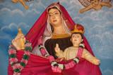Madonna with baby. Catholic pilgrimage center poster