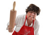 Angry grandmother with rolling pin