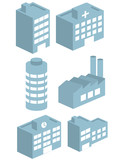 3d building icons set vector