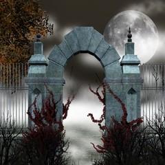 Cancello gotico con nebbia