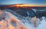 Winter sunset in mountain with cloud - Slovakia