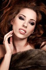 Beautiful Russian girl in fur