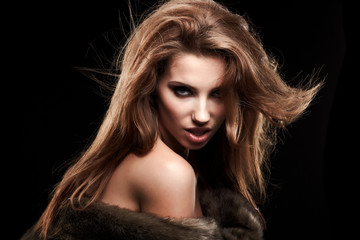 Beautiful Russian girl in fur