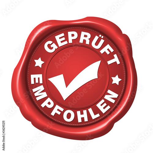 siegel geprüft und empfohlen button rot freigestellt