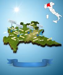 Mappa Lombardia Cartina Cartoon Aeroporti 3d