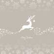 Jumping Reindeer, Christmas Ball & Snowflakes Brown Background